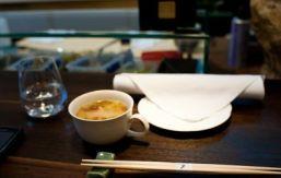 Chopsticks on holder at sushi bar