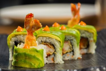 Sushi Roll with Shrimp and Avocado