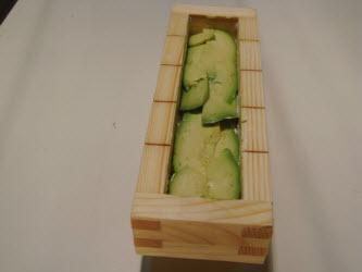 Adding avocado...make sure to line the dark edges along the outside...