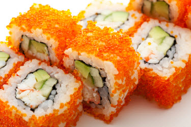 California roll with roe on the outside