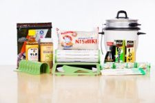 Sushiquik sushi making kit with ingredients and supplies and rice cooker