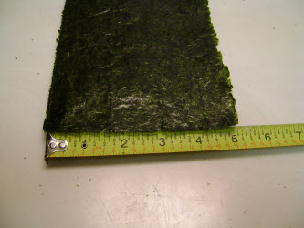 Showing 5 inch side of nori