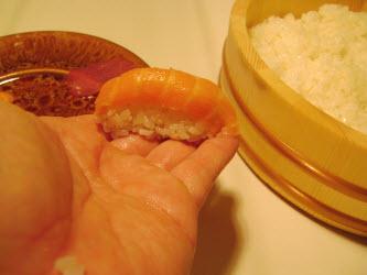 Finished salmon nigiri sushi