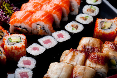Different kinds of maki sushi or sushi rolls