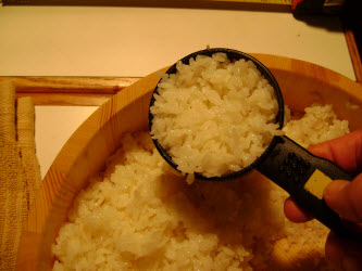 Measuring 1/2 cup of rice