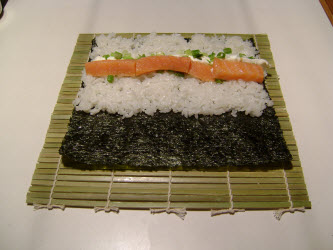 Adding smoked salmon to philadelphia roll