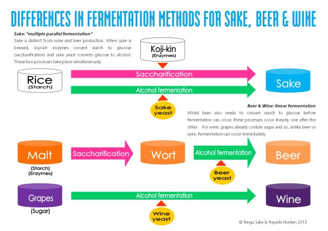 Fermentation methods for beer, sake, and wine