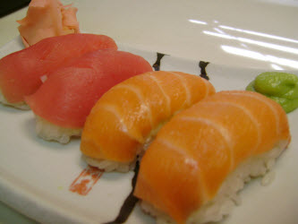 Tuna and Salmon Nigiri Sushi