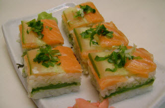 Salmon and Cucumber pressed sushi