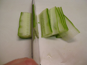 Thinly slicing the japanese or english cucumber