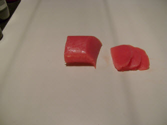 Finished tuna sliced for Nigiri sushi
