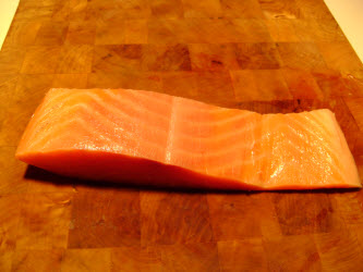 Cold smoked salmon with skin removed