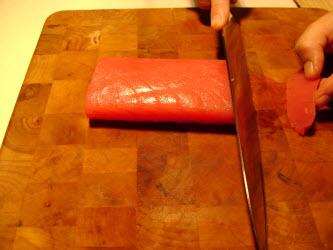 Straight across angled cut for nigiri or sashimi