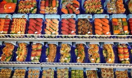 Supermarket Sushi on Display