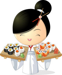 Sushi girl illustration