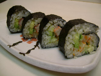 Finished maki roll made with the sushiquik
