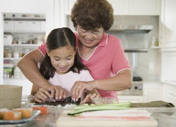 Japanese Mother and daughter making sushi together