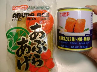 Abura age (unseasoned) and inarizushi-no-moto in a can (seasoned)