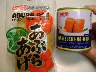 Abura age (unseasoned) and inarizushi-no-moto in a can (seasoned)