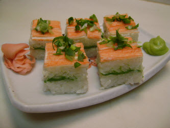 Crab and Avocado pressed sushi