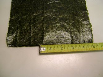 Measuring 5 inches on 8 inch side of nori sheet