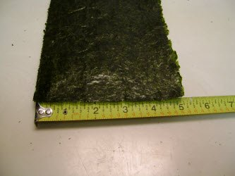 Showing the 5x7 inch nori sheet