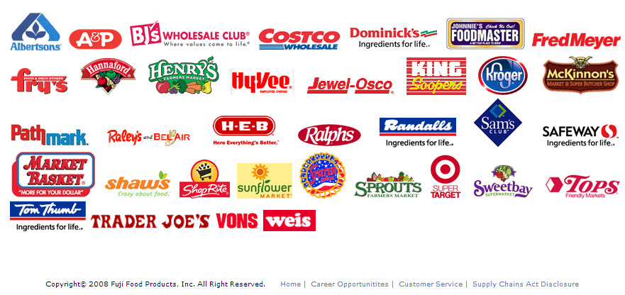 Fuji Food Products logo list of retailers
