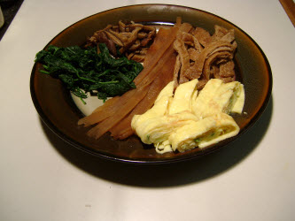 All ingredients for Futomaki on a plate-kampyo gourd strips, spinach, shitake mushrooms, seasoned fried bean curd and tamago