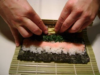 First step in rolling futomaki