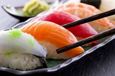 Nigiri sushi on a sushi plate