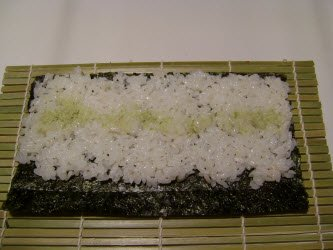spread wasabi across center of rice...