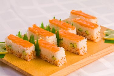 Beautiful salmon Oshi Sushi