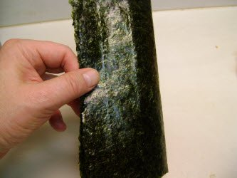 Bending nori in half