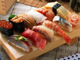 Bamboo sushi plate with nigiri sushi