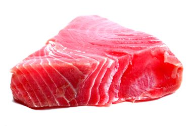 Tuna with a lot of distinct white lines in it