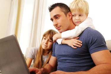 Work at Home Father with children