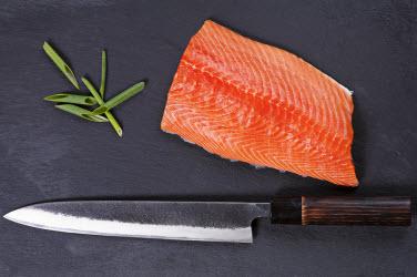 Sashimi knife and salmon