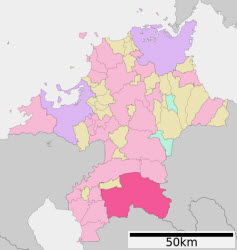 Yame region highlighted within the Fukuoka Prefecture.